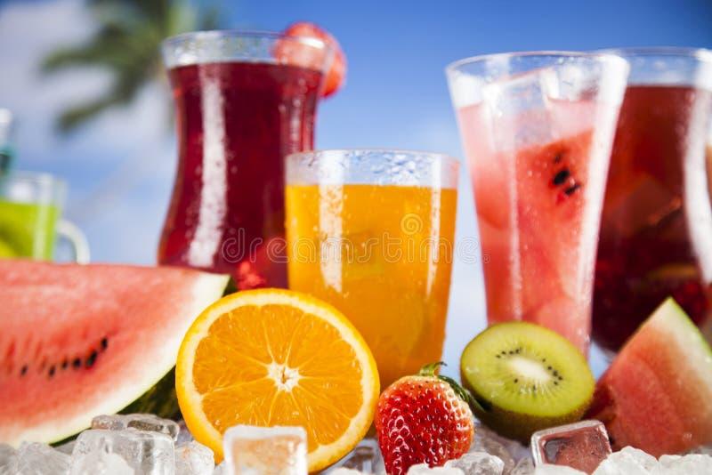 De zomerdrank, palmtak en Verse tropische vruchten stock fotografie