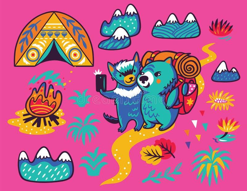 De zomerdruk met leuke Tasmaanse duivel en de wombattoerist in beeldverhaalstijl Vector illustratie stock illustratie