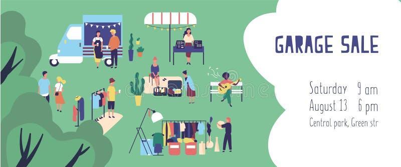De zomergarage sale, straatvlooienmarkt of vodden eerlijk banner of uitnodigingsmalplaatje met mensen die en goederen kopen verko vector illustratie