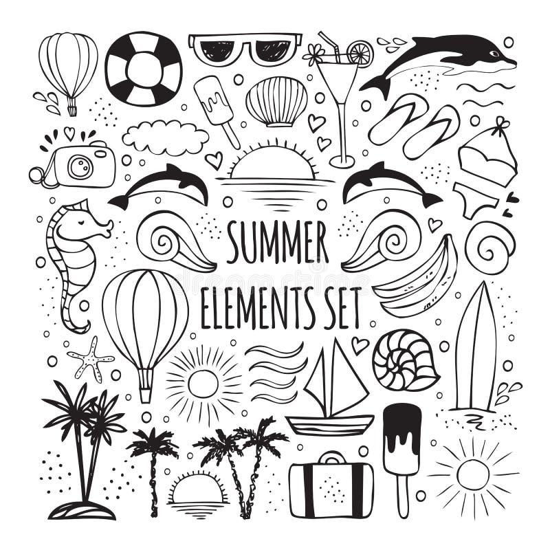 De zomerhand getrokken reeks elementen voor emblemenontwerp stock illustratie