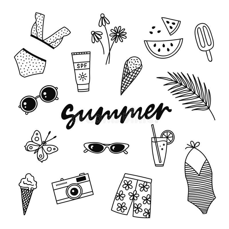 De zomerhand getrokken vectorsymbolen en voorwerpen royalty-vrije illustratie