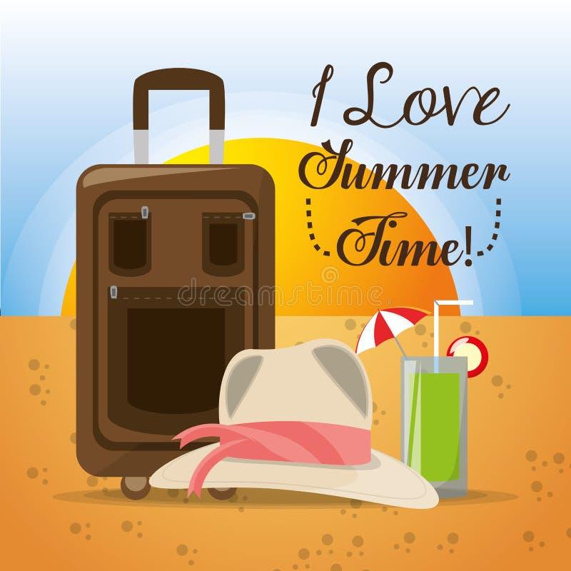 De zomerhoed, bagage en koude cocktail over zand met een mooi zonnig strand stock illustratie