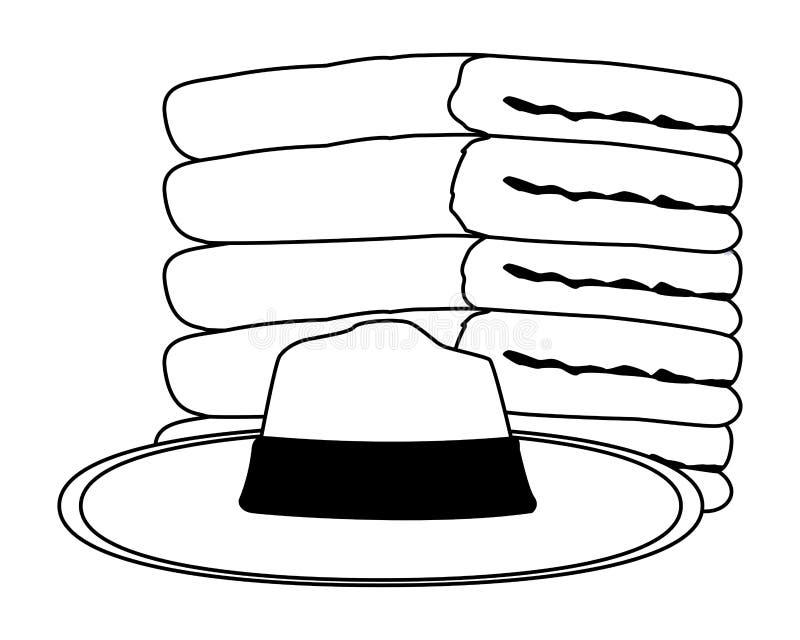 De zomerhoed en en handdoeken die omhoog in zwart-wit wordt opgestapeld royalty-vrije illustratie