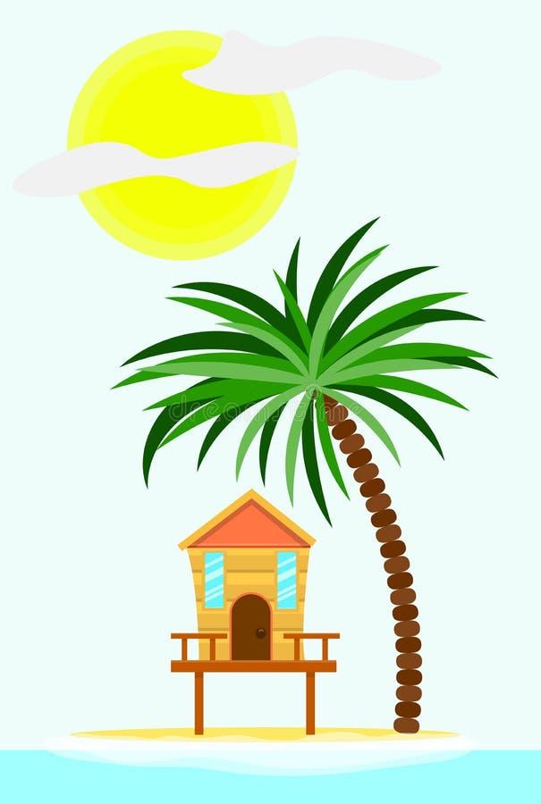De zomerhuis bij het Tropische Strand vector illustratie
