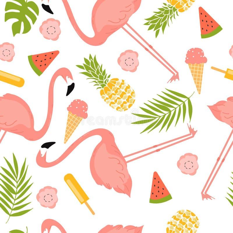 De zomerillustratie met flamingo's, roomijs en bloemen vector illustratie