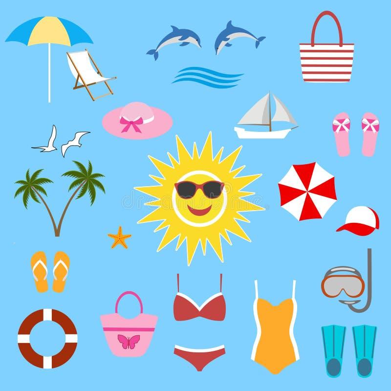De de zomerillustratie van strandmatten en de kusttoebehoren op zandachtergrond en overzees surfen vector illustratie