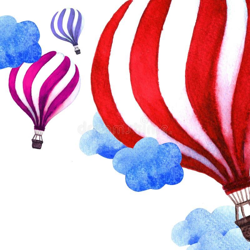 De zomerkaart met Kleurrijke Hete Luchtballons De illustratie van de waterverf stock illustratie