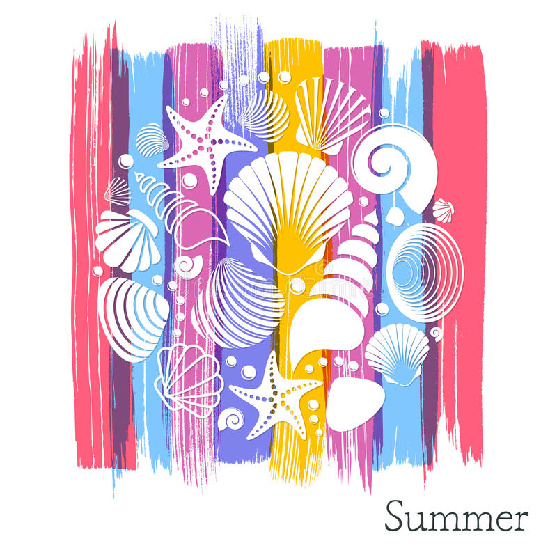 De zomerkaart met witte overzeese shells royalty-vrije illustratie
