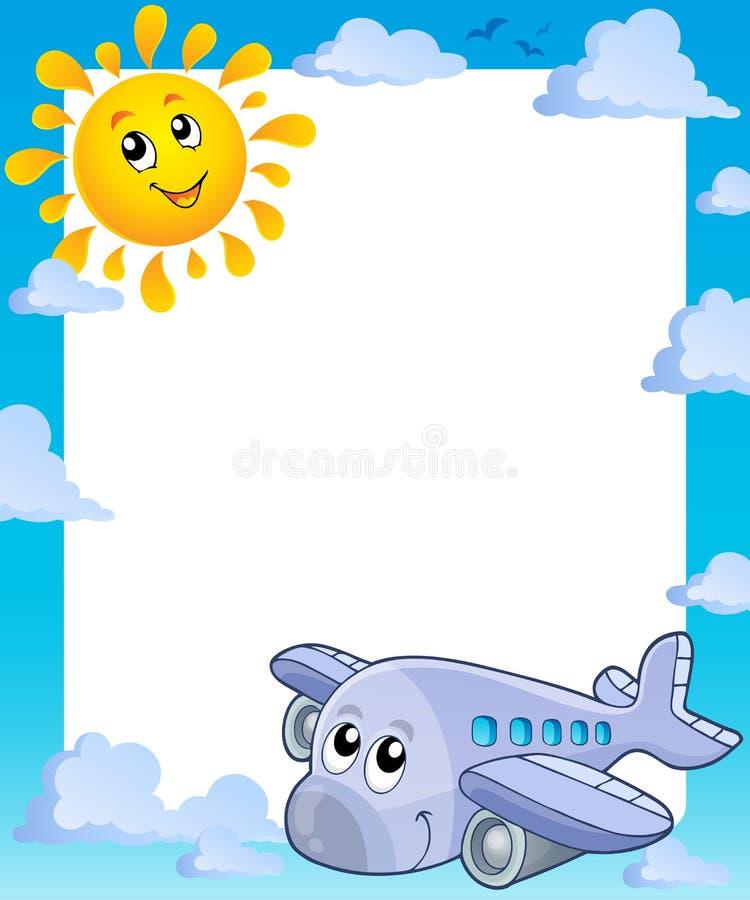 De zomerkader met zon en vliegtuig royalty-vrije illustratie