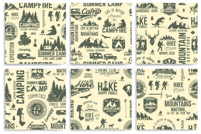 De zomerkamp en Wandelings naadloze patroon of achtergrond vector illustratie