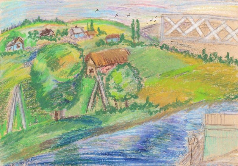 De zomerlandschap, bomen, rivier en landelijke huizen vector illustratie