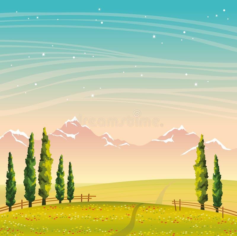 De zomerlandschap - cipres, bergen, gebied, bloemen De hemel van de nacht royalty-vrije illustratie