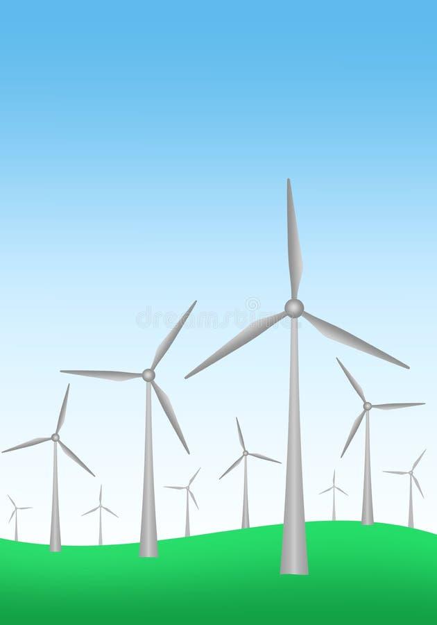 De zomerlandschap met blauwe hemel met gloeiende horizon met groene gras en windturbines in de weide Generatie van elektriciteit royalty-vrije illustratie