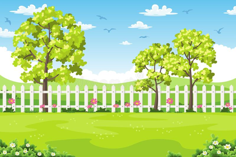 De zomerlandschap met bomen, bloemen en omheining stock illustratie