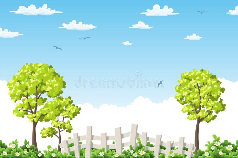 De zomerlandschap met bomen en omheining royalty-vrije illustratie