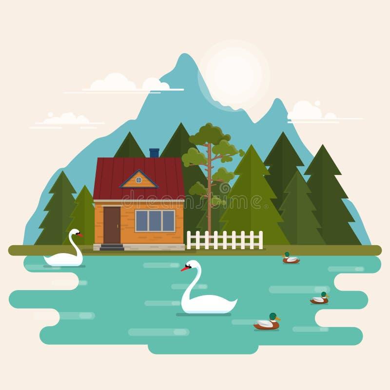 De zomerlandschap met boshuis op het meer stock illustratie