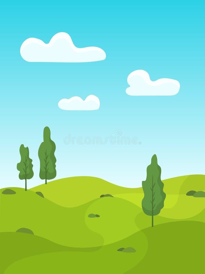 De zomerlandschap met groene weiden en bomen royalty-vrije illustratie