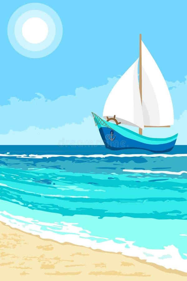 De zomerlandschap met zeilbootachtergrond royalty-vrije illustratie