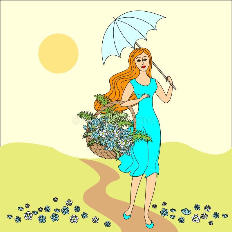 De ZOMERlandschap Mooi meisje met een mand van bloemen feestelijke prentbriefkaar Vector illustratie stock illustratie