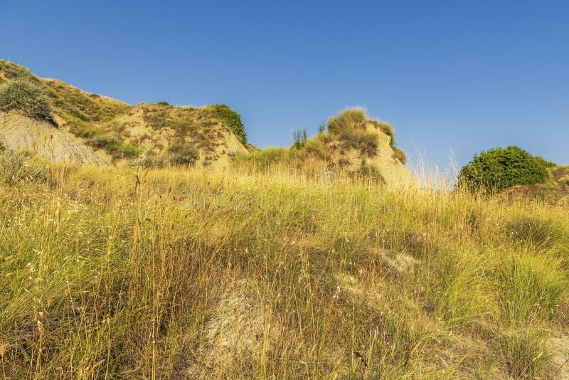 De zomerlandschap over het nationale park van Aliano badlands in Val D 'Agri, Basilicata stock foto