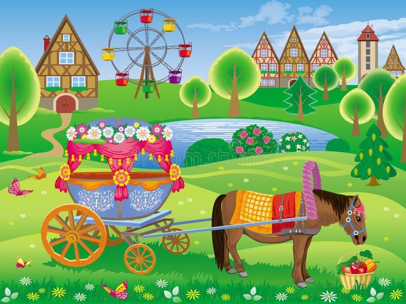 De zomerlandschap van het Park met de poney aan deco wordt uitgerust die royalty-vrije illustratie