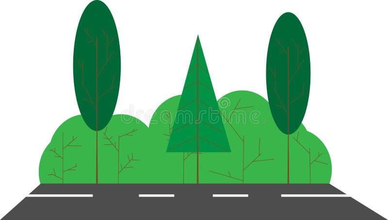 De zomerlandschap, weg met struiken en bomen Vlak beeld vector illustratie