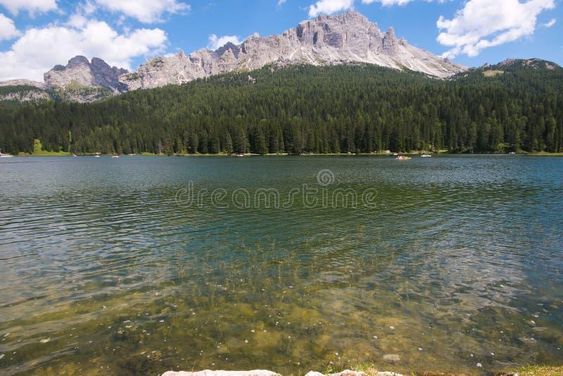 De zomermening van Misurina-meer in Veneto, Italië stock foto