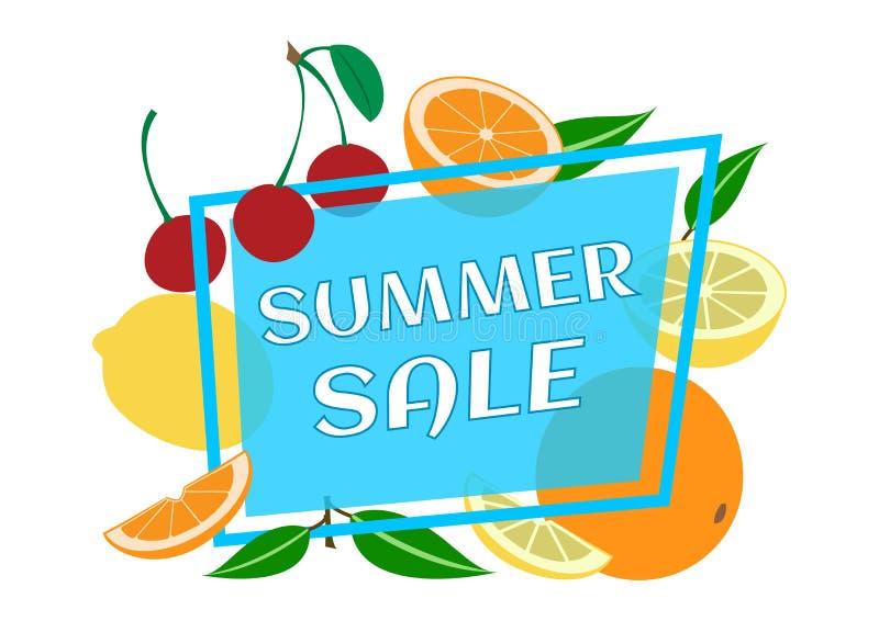 De zomerontwerp, fruit rond het kader, de zomerachtergrond, vector vector illustratie