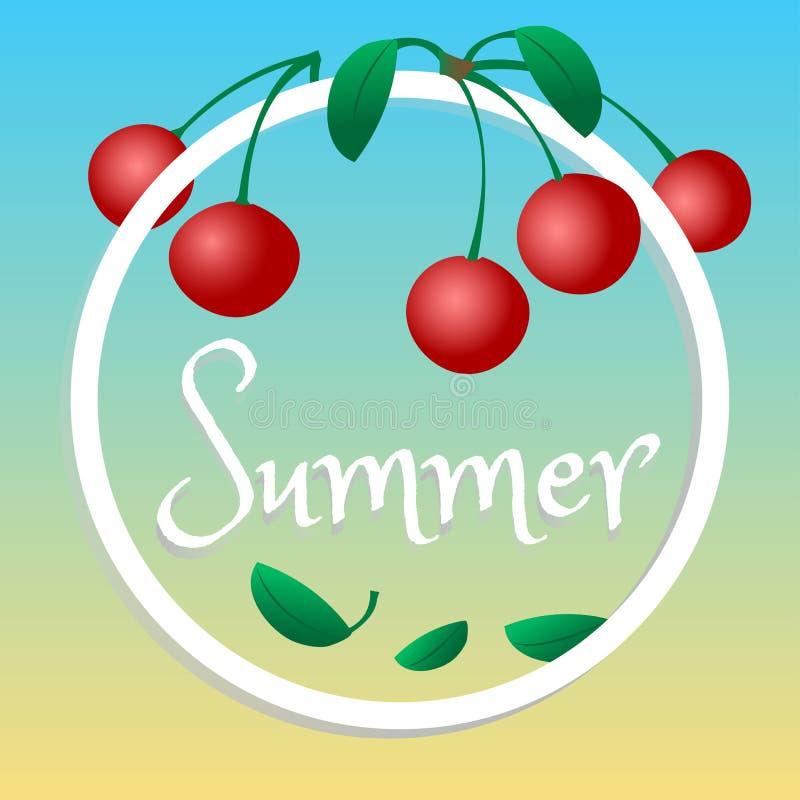 De zomerontwerp, kersen in een cirkel, vector royalty-vrije illustratie