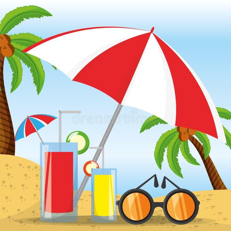 De zomerparaplu, zonglazen en cocktail over zand met een mooi zonnig strand vector illustratie