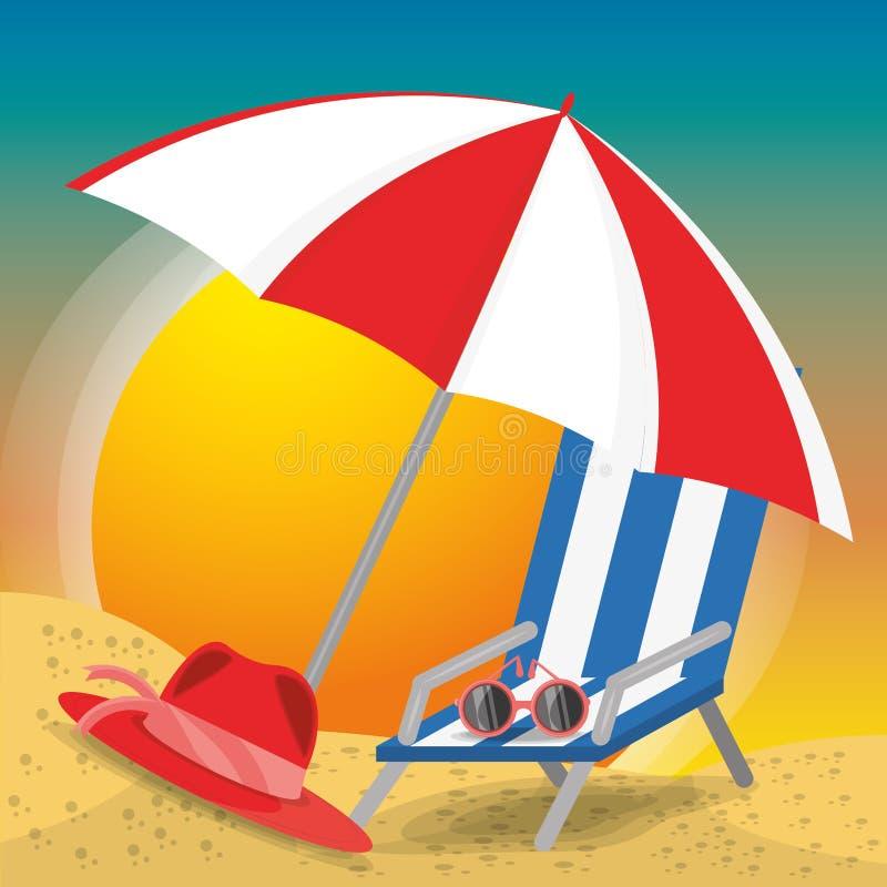 De zomerparaplu, zonglazen, stoel en hoed over zand met een mooi zonnig strand royalty-vrije illustratie