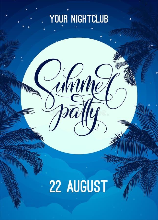 De zomerpartij het van letters voorzien met nachthemel, maan en palm Vectormalplaatje voor affiche, vlieger, uitnodiging, druk, b stock illustratie