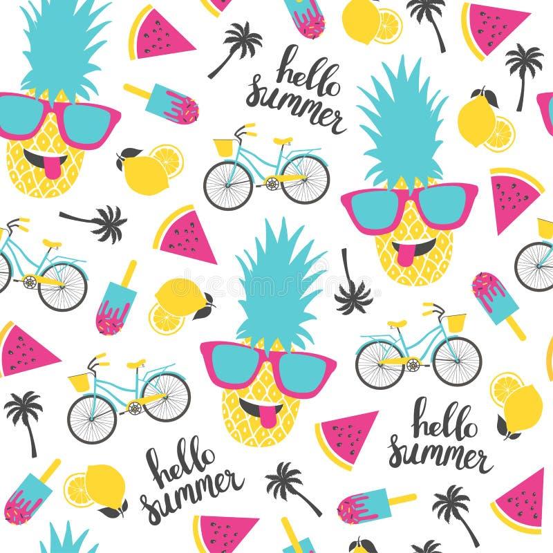 De zomerpatroon Watermeloen, ananas en fiets royalty-vrije illustratie