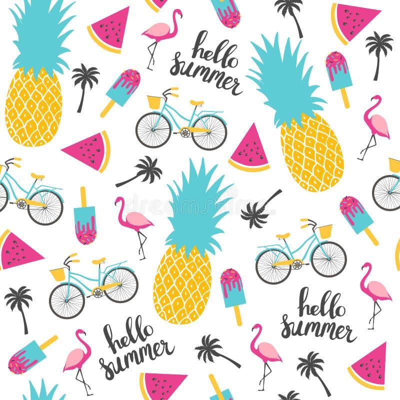 De zomerpatroon Watermeloen, ananas en fiets stock illustratie