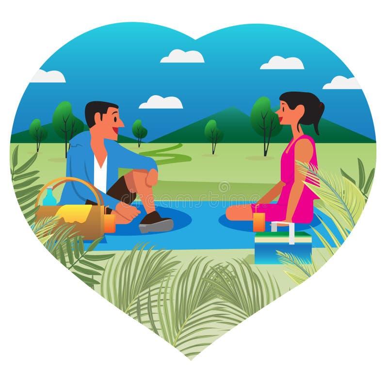 De zomerpicknick met mooi persoonsontwerp royalty-vrije stock afbeelding