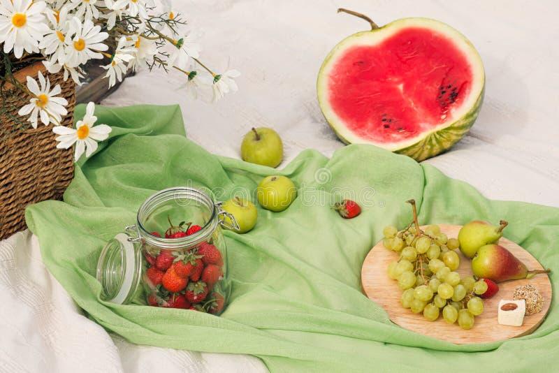 De zomerpicknick in de weide op het groene gras Fruitmand, sap en gebottelde wijn, watermeloen, aardbeien in a stock foto's