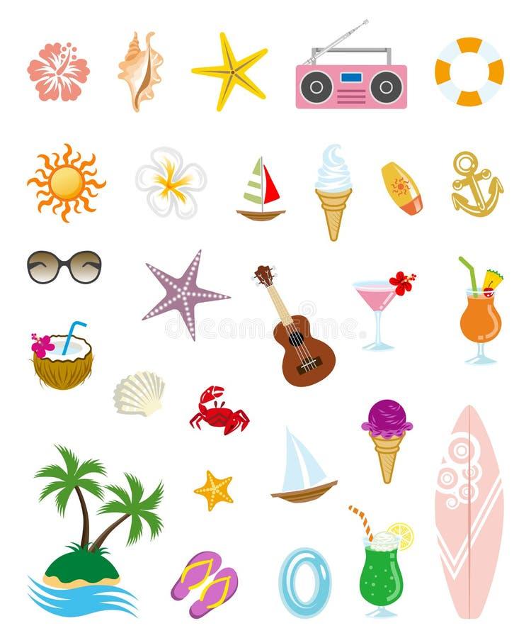 De zomerpictogrammen stock illustratie