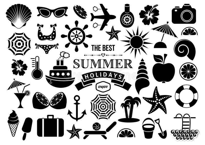 De zomerpictogrammen royalty-vrije illustratie