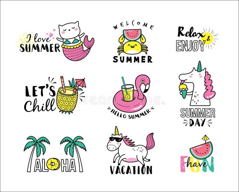De zomerpictogrammen vector illustratie