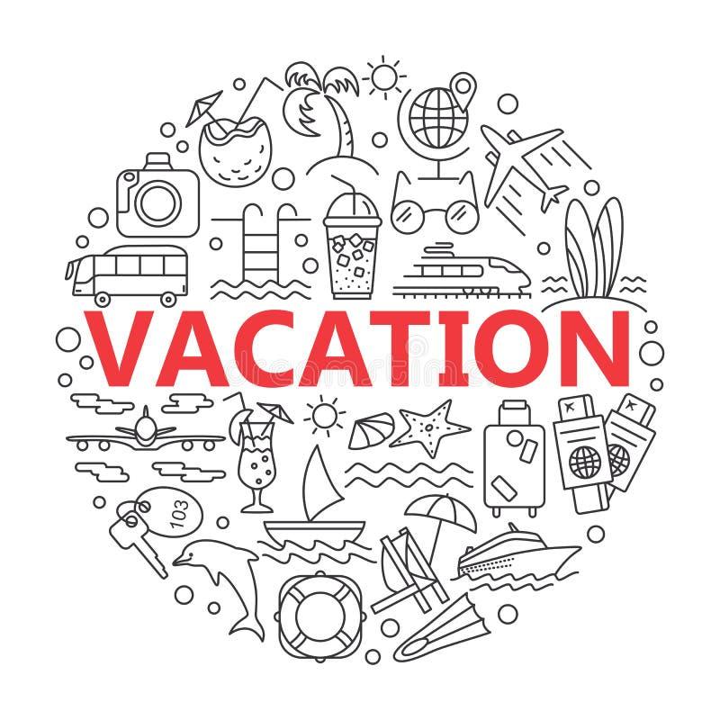De zomerpictogrammen en Strandpictogrammen vector illustratie