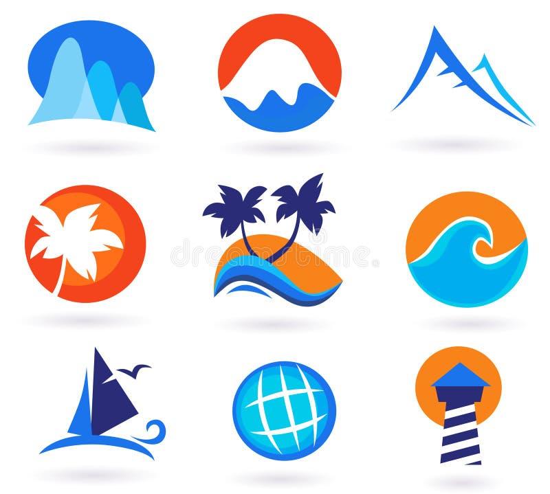 De zomerpictogrammen van de vakantie, van de reis en van de vakantie stock illustratie