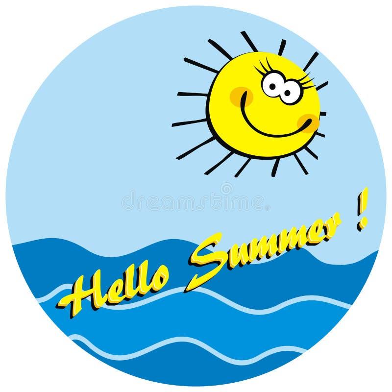 De zomerprentbriefkaar, grappige zon en overzees, vectorillustratie vector illustratie