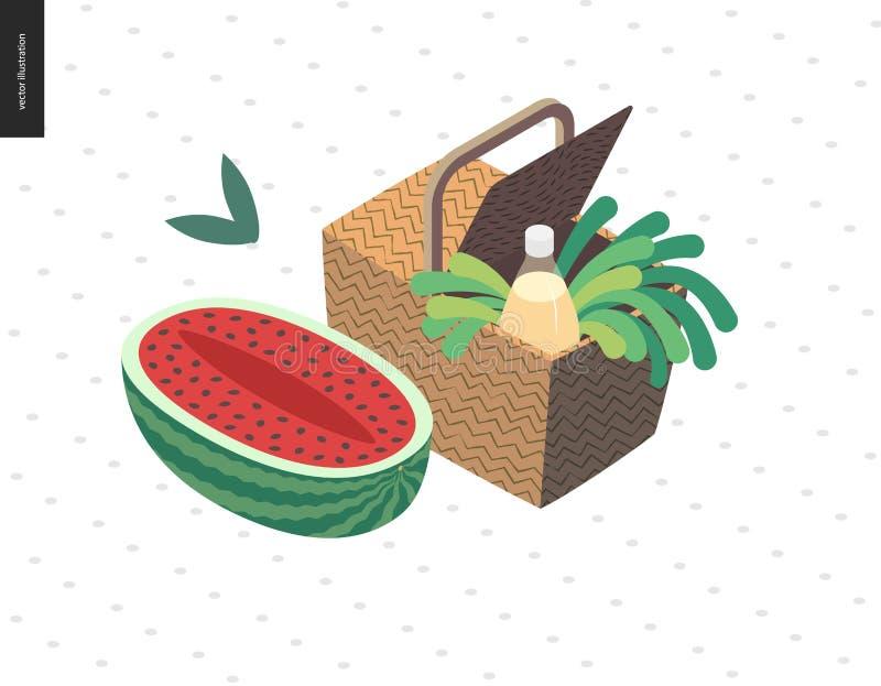 De zomerprentbriefkaar van het picknickbeeld vector illustratie