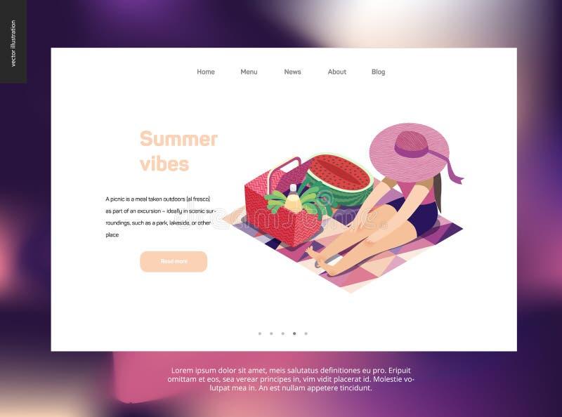De zomerprentbriefkaar van het picknickbeeld stock illustratie