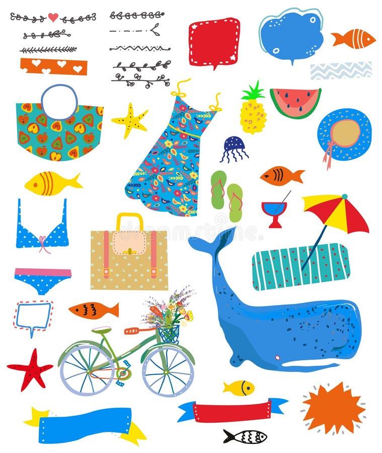 De zomerreeks pictogrammen met overzees en reisthema Vector illustratie stock illustratie