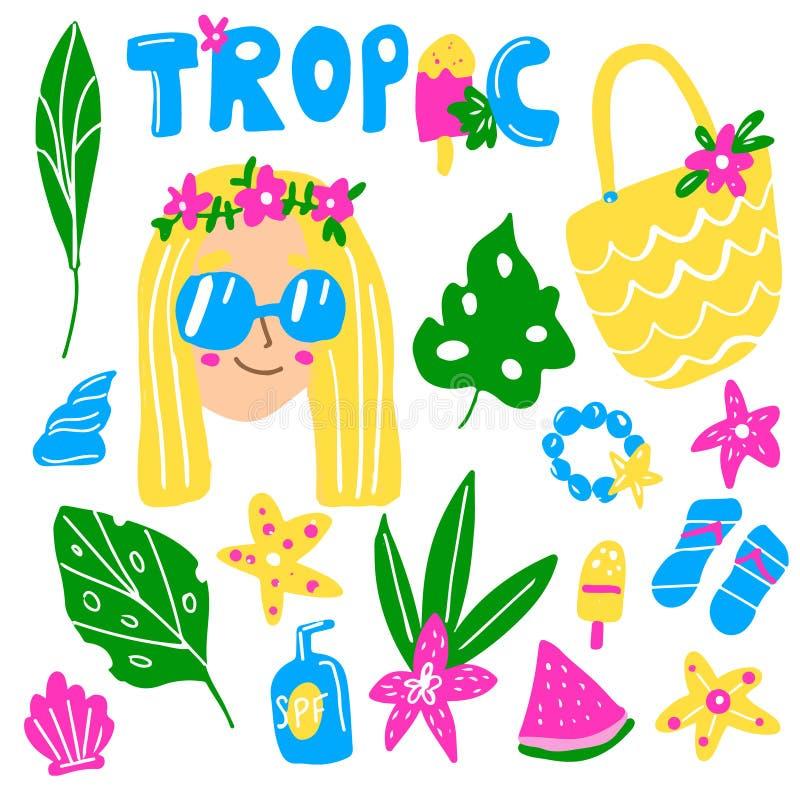 De zomerreeks De tropische bladeren, het roomijs, shell, de lotion en andere hand getrokken elementen voor vakantie, vakantie als vector illustratie