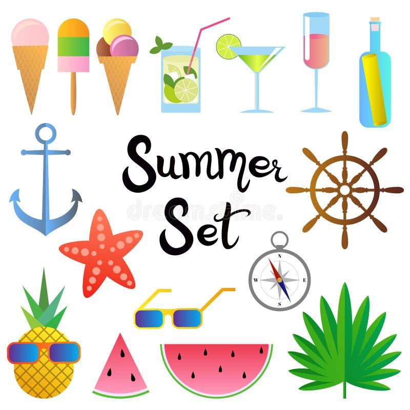 De zomerreeks Watermeloen, cocktails, ananas, zeester, glazen, roomijs, palmbladen, anker, kompas, stuurwiel, fles stock illustratie