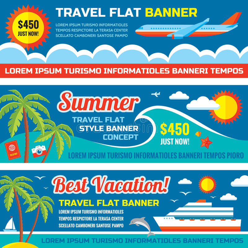De zomerreis - decoratieve horizontale vectordiebanners in de vlakke tendens van het stijlontwerp worden geplaatst De vectorachte royalty-vrije illustratie