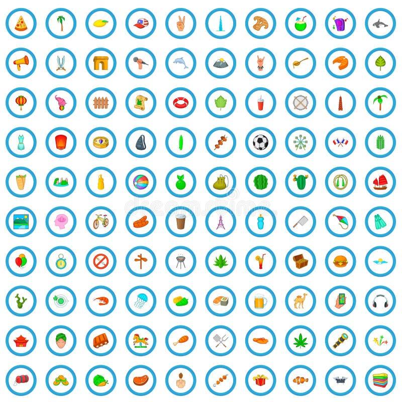 100 de zomerrust geplaatste pictogrammen, beeldverhaalstijl stock illustratie