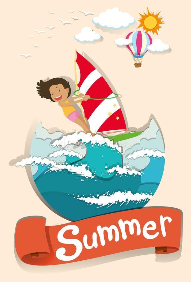 De zomerscène met vrouw het surfen vector illustratie